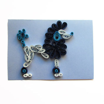 Poodle Quilling Card, Greeting Card with Quilled Poodle, Funny Quilling Card