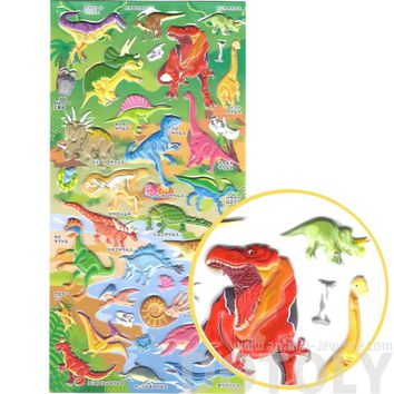Dinosaur T-Rex Raptors Shaped Animal Themed Puffy Stickers | 2 Sheets