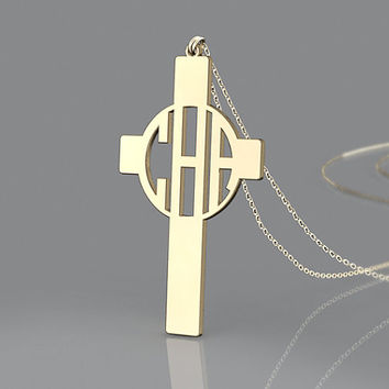 Hot selling 3 initial monogram necklace--1 inch personalized monogram gold plated necklace
