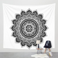 Black on White Mandala Tapestry
