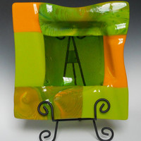 Art Glass Bowl in Lime Green and Gold, 10 Inch Square Fused Glass