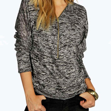 Grey V-Neck Long Sleeve Front Zipper T-Shirt
