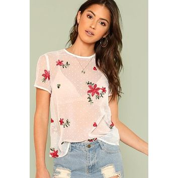 Floral Embroidered Sheer Mesh Top Without Bra