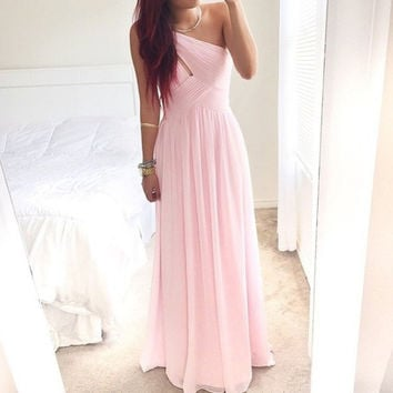 One Shoulder Prom Dresses, Pink Prom Dresses, Long Evening Dress