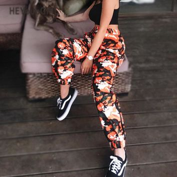HEYounGIRL Orange Camouflage Pants Harem Camo Sweatpant High Waist Hip Hop Cargo Elasic Trousers Strriped Pants Pantalon Femme