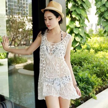 Sexy Women's 2018 Summer Cotton Knitting Dress Beach Sexy Cover Up Summer Beach Dress Swimwear Cover-ups Swimsuit 02-0337