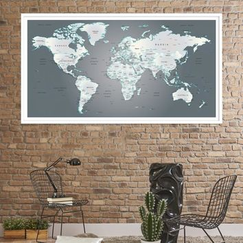 59596 - Wall Art World Travel Map - Large Push-Pin World Map Gray Green Vintage Style Canvas Print