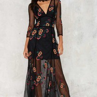 For Love & Lemons Elenora Embroidered Maxi Dress