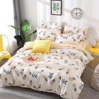 Cool Fruit pineapple Bedding Set Quilt Cover queen full King Size children cartoon duvet cover Set yellow and white Bedclothes 4pcsAT_93_12