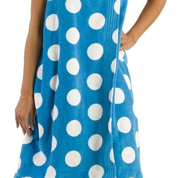 Women's Cotton Bath Wraps, Polka Dot Terry Cloth Towels for Ladies