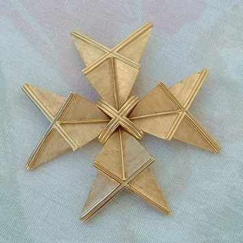 TRIFARI Brooch Art Deco Style Geometric Cross Vintage Pin Goldtone