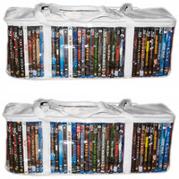 Evelots Set Of 2 DVD Storage Organization Case Vinyl Bags Holds 30 DVDs Each