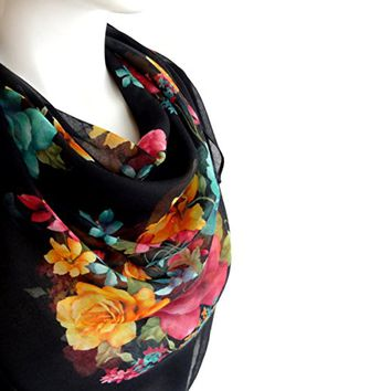 BUY ANY 3 GET 1 OF THEM FREE, light soft scarf, Christmas gift, autumn scarf, cotton scarf, black bright flowers, square scarf, fall fashion, girlfriend gift, large scarf