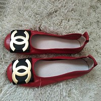 Chanel Women Casual Simple Leather Flats Shoes