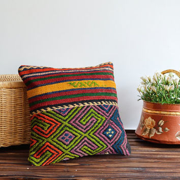 Colorful Kilim Cushion - Hand Woven Wool Vintage Tribal Turkish Kilim Pillow Cover - Red Yellow Orange Green Blue Purple Striped Pillow