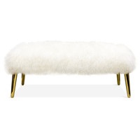 Jonathan Adler Large Mongolian Lamb Sheepskin Fur Bench