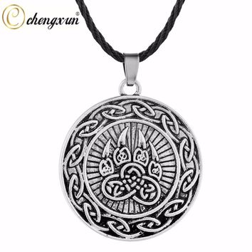 CHENGXUN Lovely Animal Paw Pendant Teen Boys Necklace Protection Amulet Nordic Viking Pagan IN Rune Vintage Jewelry Men Collier