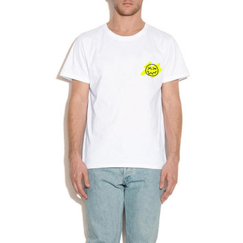 Stoned Smiley T-shirt, White and Yellow, Fake the true brand.