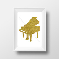 Music Room Decor, PIano Print , Gold Glitter Printable Artwork, Digital Download, Home Decor, Nursery Decor