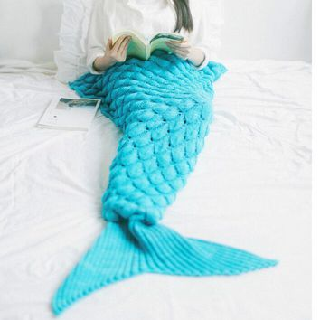 Fish scales style pattern mermaid rug fish tail tapestry cotton sofa rug carpet blanket-1