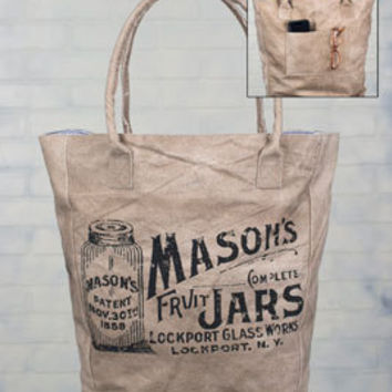 Large Canvas Market Tote, Mason Jar Market Bag, Canvas Tote, Mason Jar, Mason Jar Bag, Canvas Mason Jar Bag
