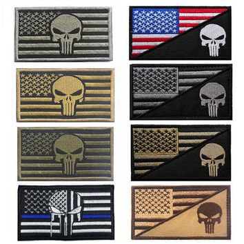 CREYU3C 2016 Army Fans Outdoor Popular Embroidered Armbands + Punisher American Flag Standard Cloth Embroidered Patches Accessory