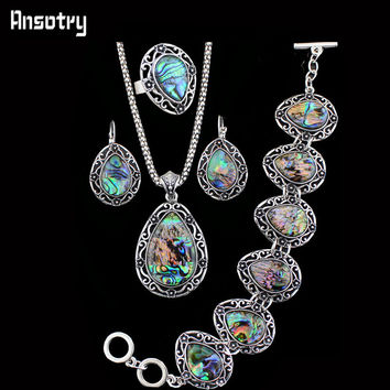 Flower Drop Pendant Shell Jewelry Set Necklace Bracelet Earrings For Women Vintage Antique Silver Plated Fashion Jewelry TS199