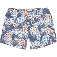 River Island MensBlue floral print washed swim trunks