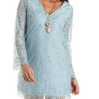 Bell Sleeve Lace Shift Dress by Charlotte Russe