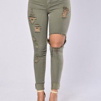 ICIKR8D Glistening Jeans - Olive