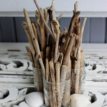 Beach Love Driftwood Centerpiece Collection of 3 Vases Filled With Driftwood - Coastal Chic Home Decor