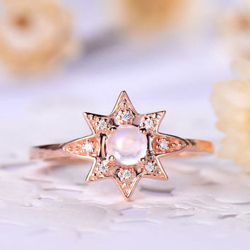 Moonstone engagement ring rose gold 14k/18k Sunflower Sun rise flower or 925 sterling silver with Man made CZ diamond halo unque ring