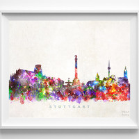 Stuttgart Skyline Print, Germany Poster, Watercolor Painting, Wall Decor, German Art, Cityscape, City Painting, Christmas Gift