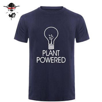 Power By Plants T Shirts Men Summer Funny Tshirts Female Hipster Joke Tee Tops Unisex Vegetarian Vegan T-Shirt