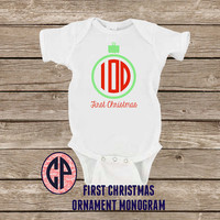 Infant Baby ORNAMENT MONOGRAM Onesuit Bodysuit First Christmas Onesuit Holiday Onesuit