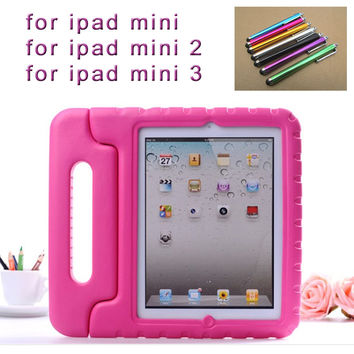 Stylus pen + New Cute Proof EVA Cover For Apple iPad MINI Cases Kids Children Safe Silicon for iPad mini 3 2 1 Protective Cases