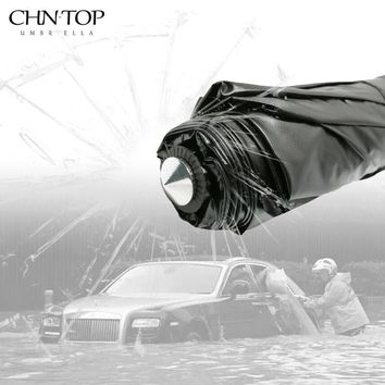New Car Safety Hammer Automatic Car Umbrellas Wind Resistant Black Coating 3Folding Colorful Umbrella Rain Business Men Women