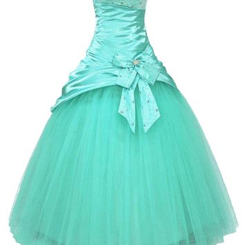 Faironly Aqua Strapless Prom Gown Dress (XS)