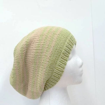 Oversized slouchy beanie hat, lime and tan slouch hat  4052