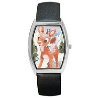 Christmas Rudolph the Red Nosed Reindeer Womens or Girl Barrel Watch with Lea...