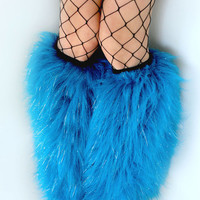 MADE TO ORDER Rave Fluffies glitter uv turquoise legwarmers monster fur furry bootcovers fuzzy boots gogo festival costume leggings