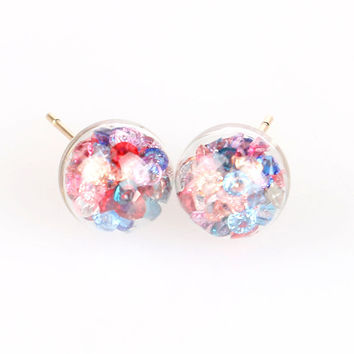 Multicolor Ball Through Ball Faceted Stone Embellishment Earrings