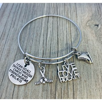 Ice Hockey Christian Charm Bracelet, I Can Do All Things Through Christ Who Strengthens Me