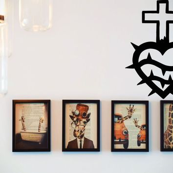 Bible Cross Merged with Heart  Vinyl Wall Decal - Removable (Indoor)