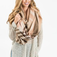 Clara Pink and Brown Plaid Scarf