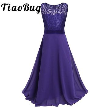 TiaoBug Elegant Kids Girls Floral Lace Vestidos Flower Girl Dresses Party Prom Gown First Communion Dresses Floor Length 4-14Y