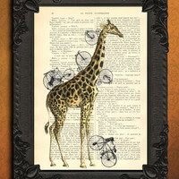 Giraffe with bicycles - bicycle art - giraffe bicycle art print - vintage home decor dictionary print - book page print - recycled upcycled