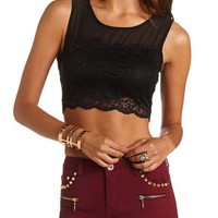 LACE CHIFFON CROP TOP