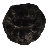 Dark Brown Fur Round Pet Bed