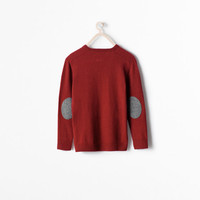 V-neck sweater with elbow patches